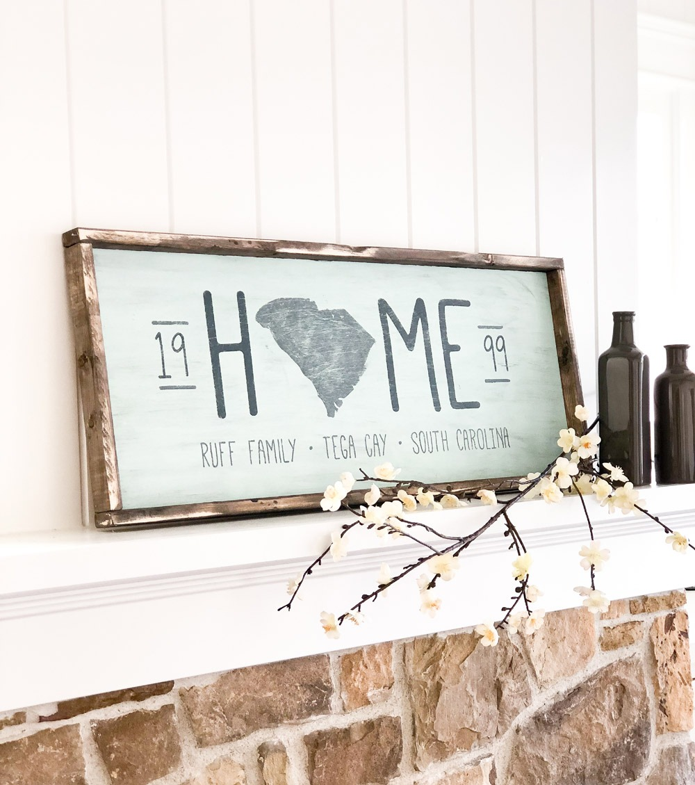 home state silhouette established framed sign 14x34