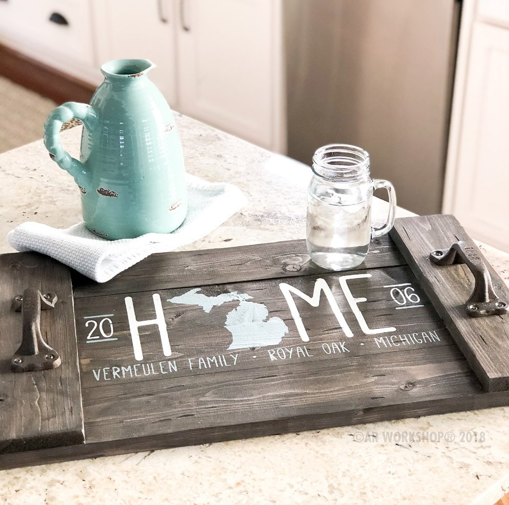 home state silhouette established plank tray 14x24