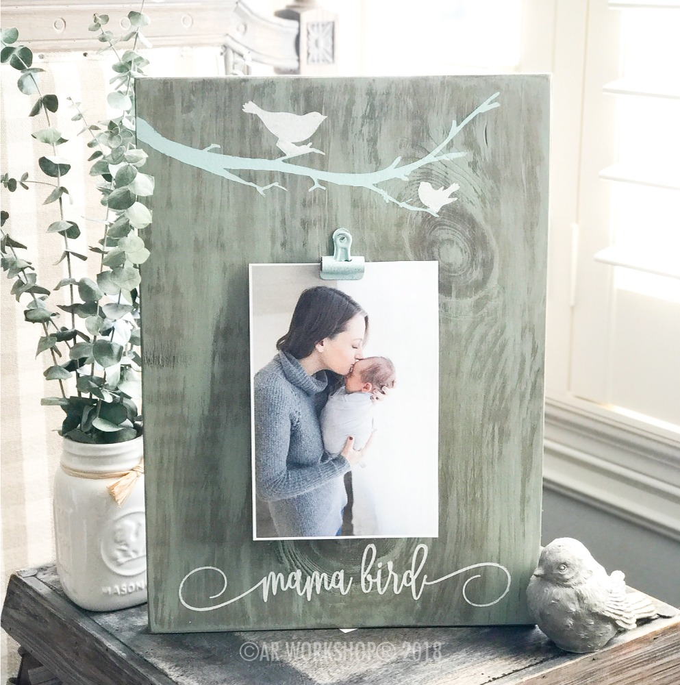 mama bird wood photo frame