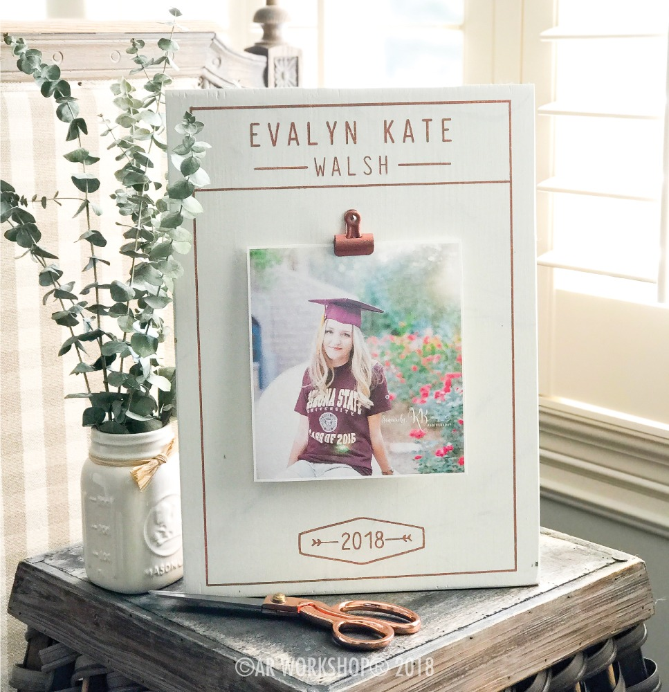 Modern Graduation Name Date wood photo frame