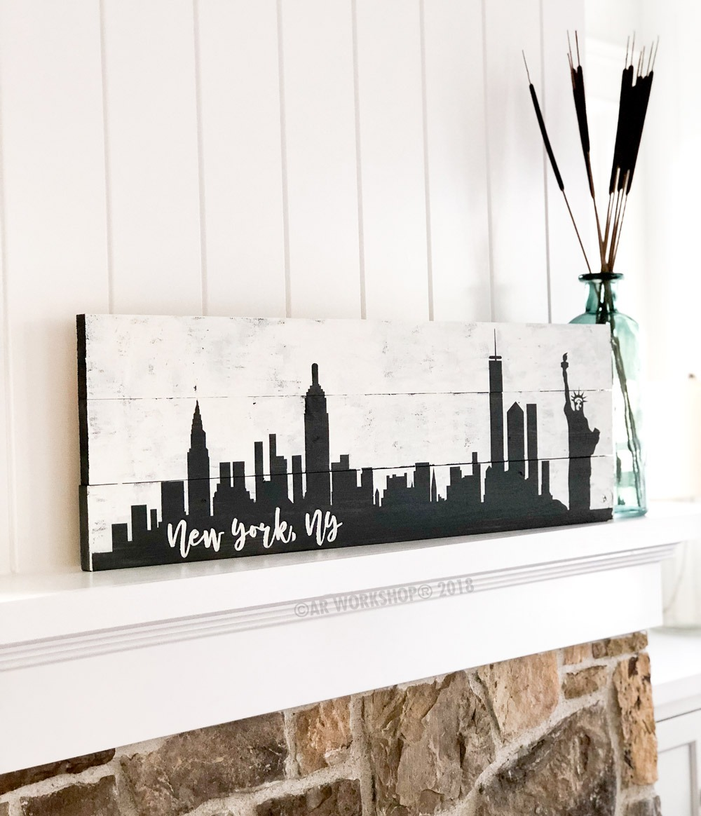 new york city skyline plank sign 10.5x32