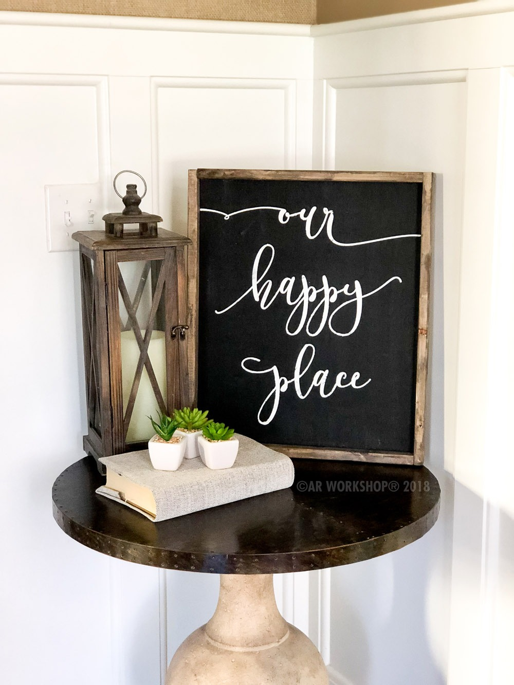 our happy place framed sign 18x21
