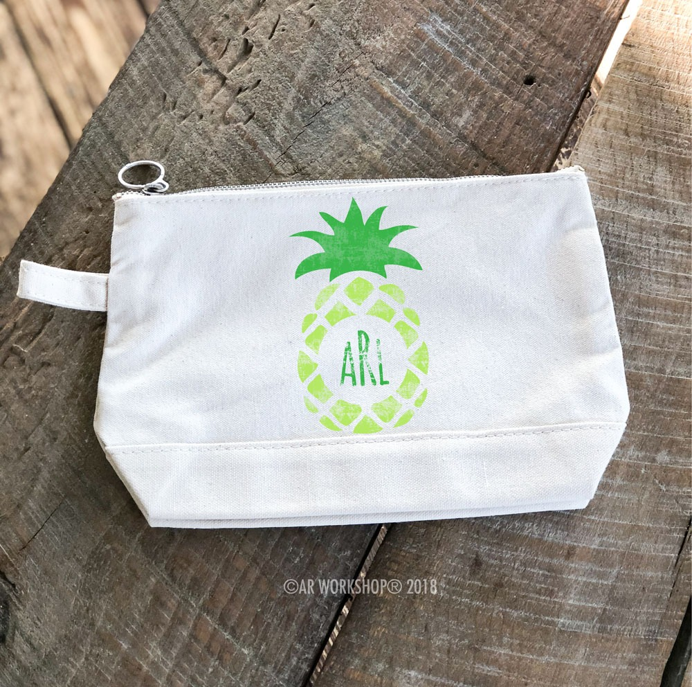 Pineapple Monogram Makeup Case