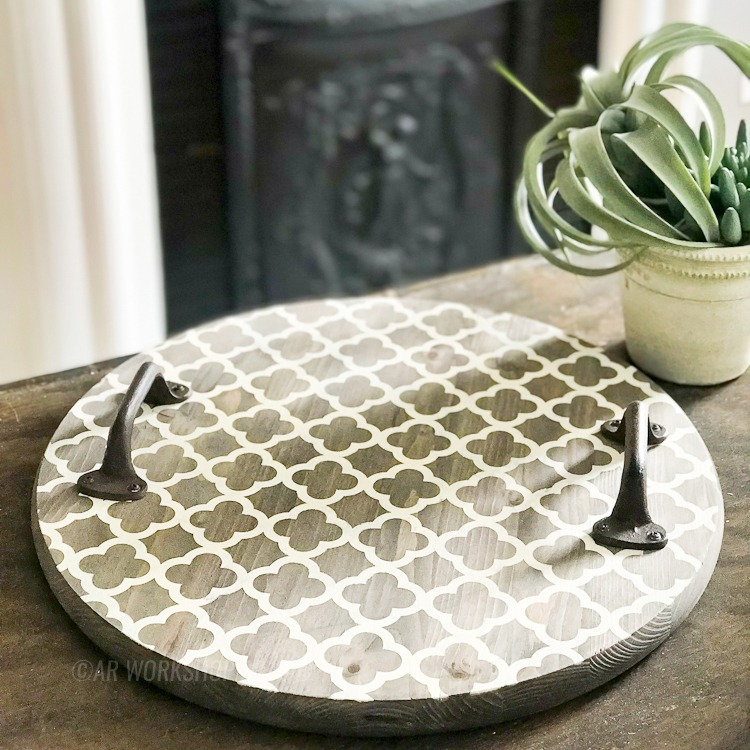 quatrefoil boho pattern round tray (handles sold separately)