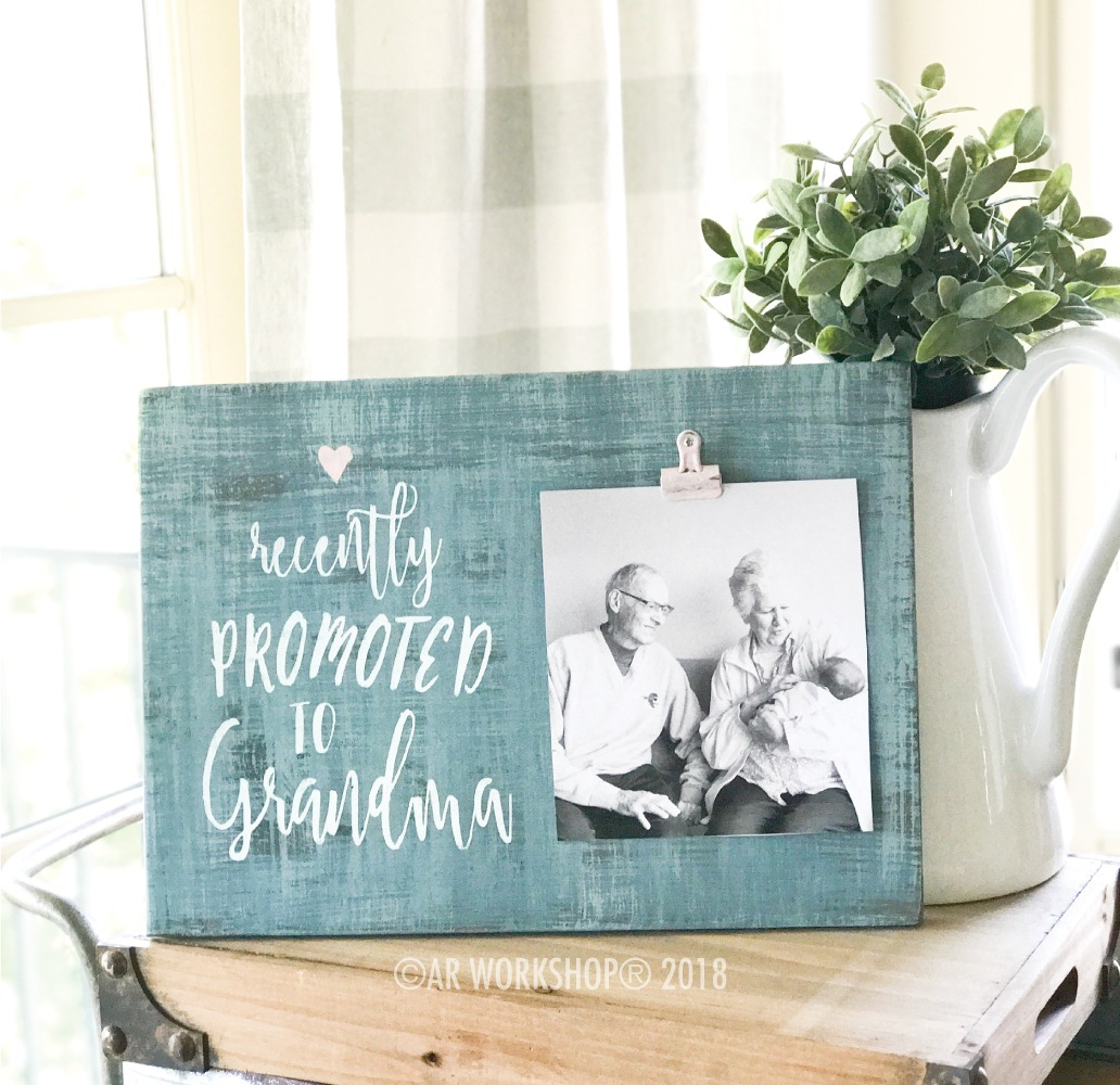 Recently Promoted to Grandma wood photo frame