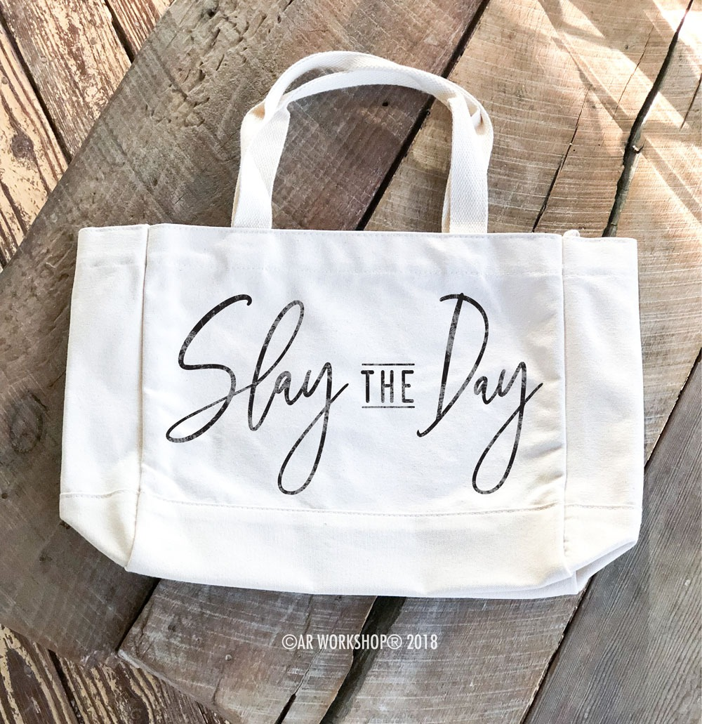 slay the day tote bag