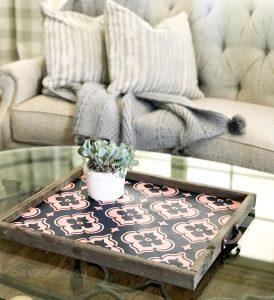 trellis floral framed tray 18x21