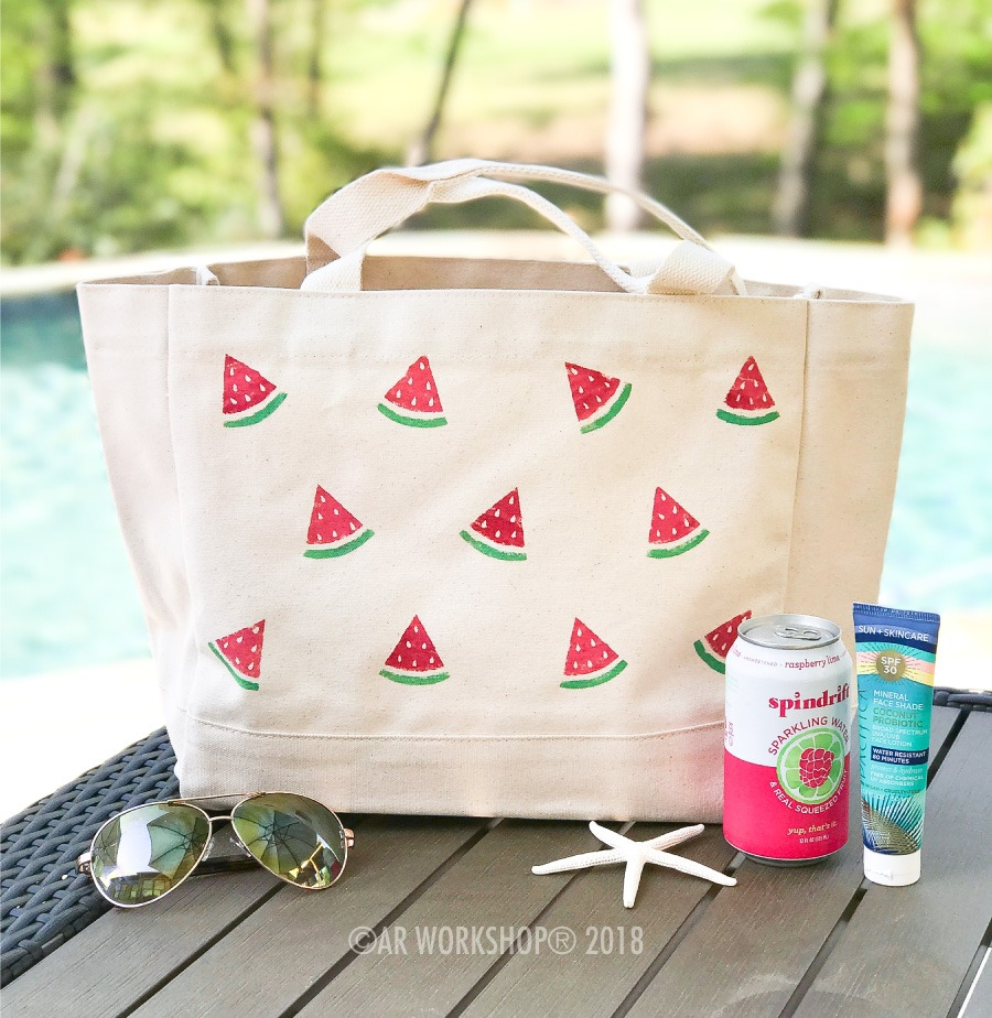 watermelon slices tote bag