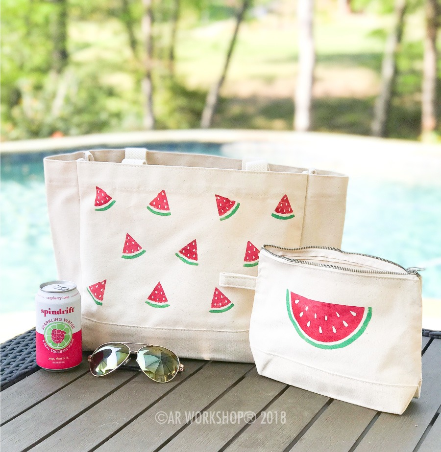 Watermelon Slices Tote Bag and Makeup Case (sold separately)