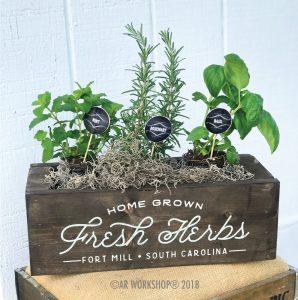 home grown fresh herbs mini centerpiece box