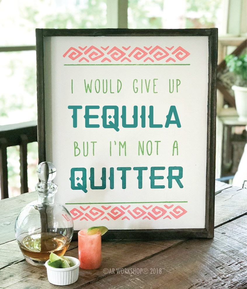 i would give up tequila framed sign 18x21