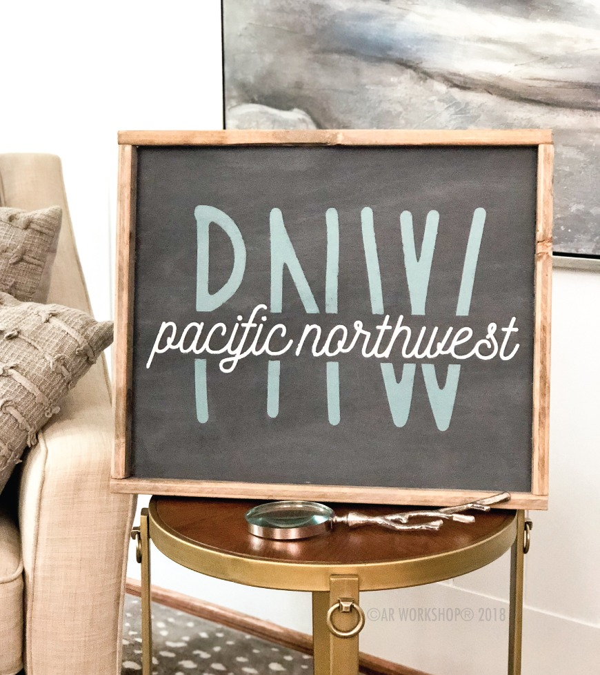 PNW Pacific Northwest framed sign 18x21