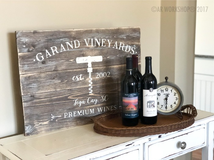 premium wines plank wood sign 17.5x24