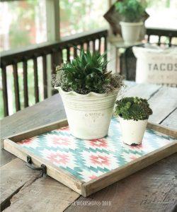 southwestern pattern framed tray 18x21 (handles sold separately)