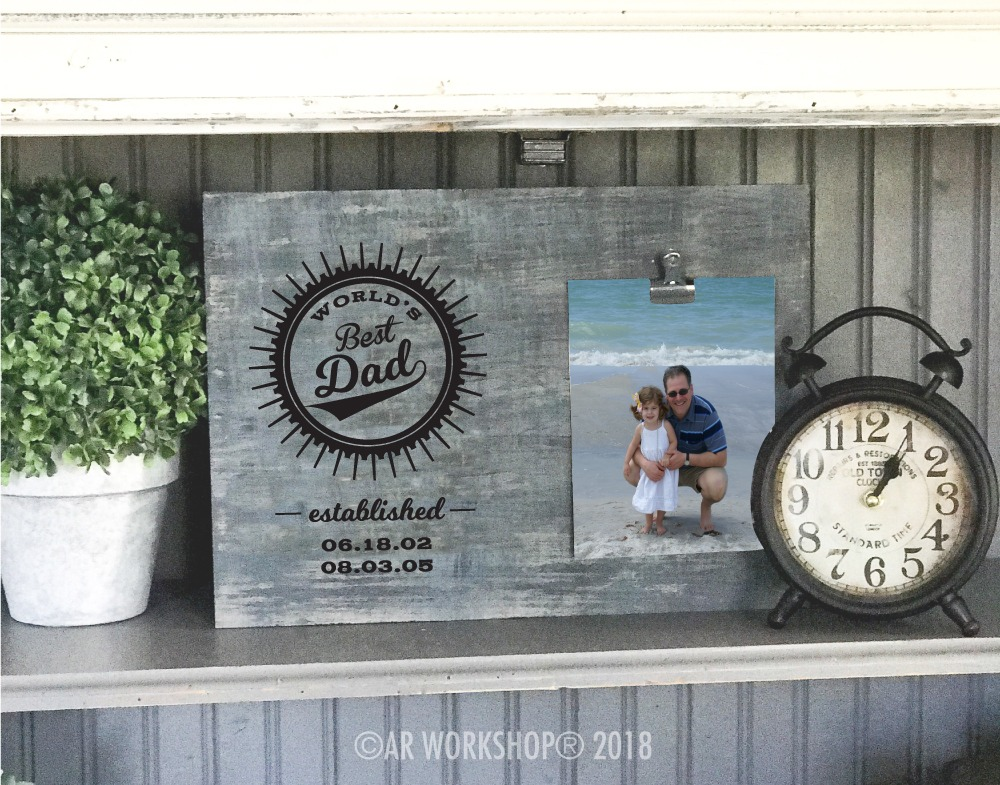 worlds best dad established wood photo frame