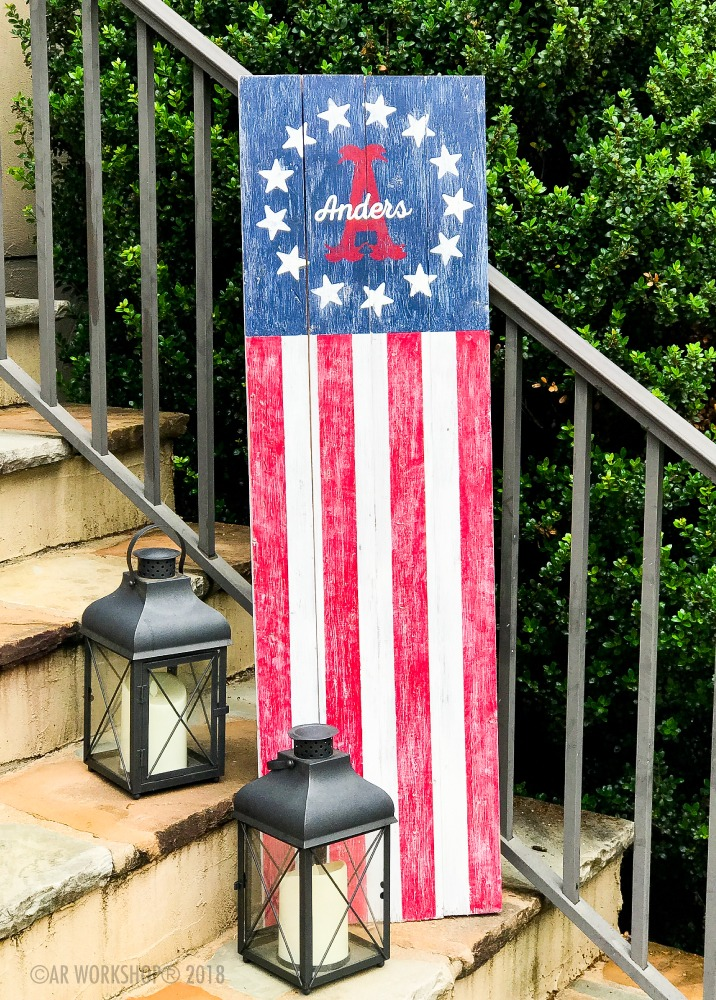 american flag monogram porch sign 14x48 or 12x48