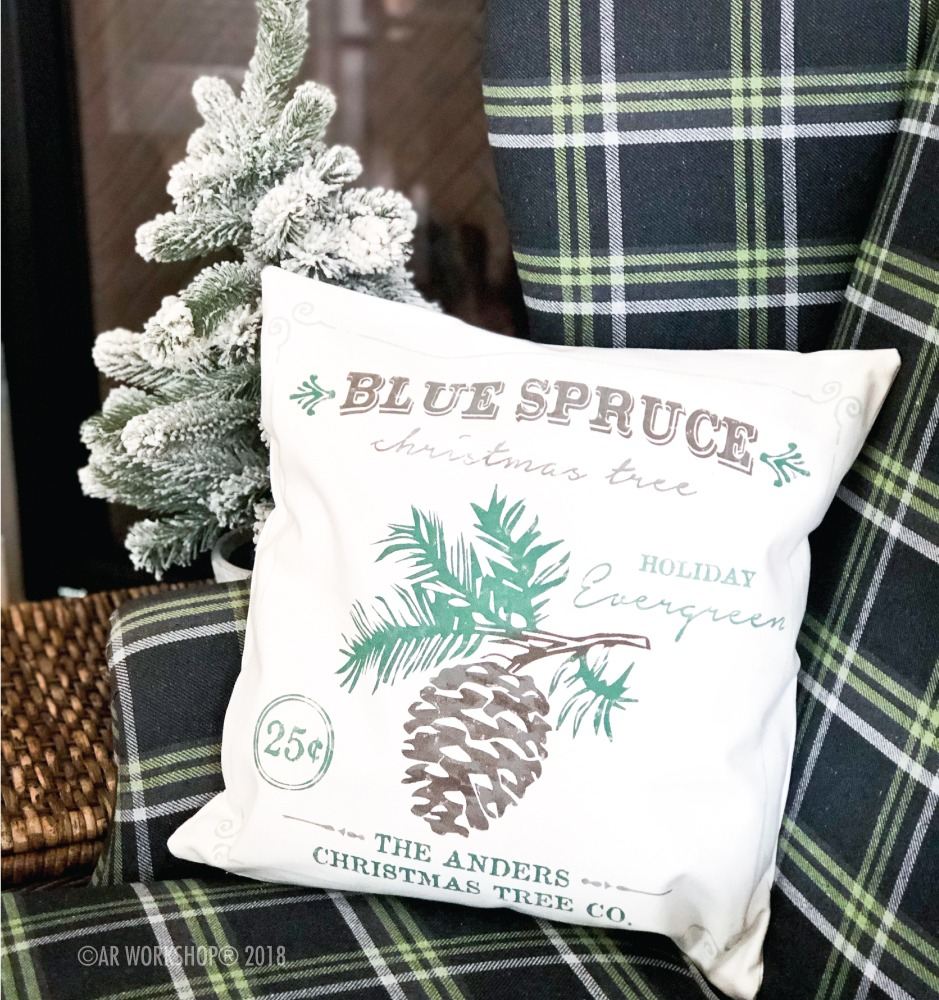 blue spruce pinecone pillow
