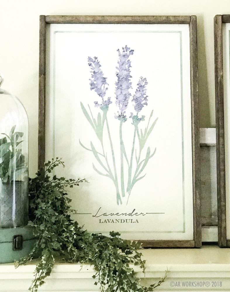 botanical lavender framed sign 18x26