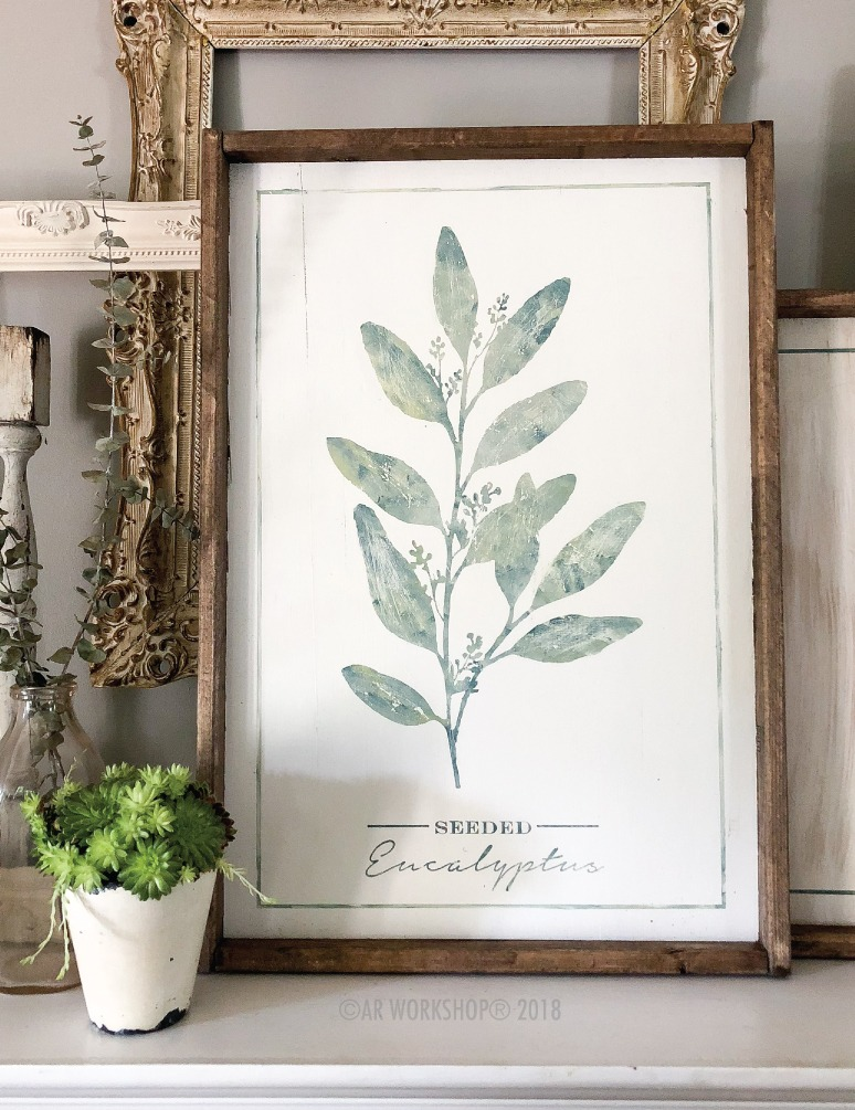 botanical seeded eucalyptus framed sign 18x26
