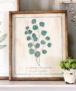 botanical silver dollar eucalyptus framed sign 18x21