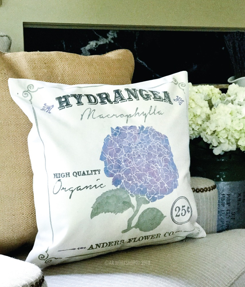 hydrangea floral canvas pillow