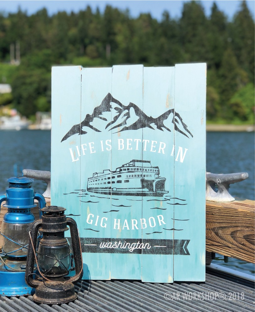 life is better in mountain ferry plank sign 17.5x24