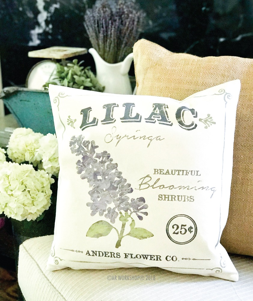 lilac floral canvas pillow
