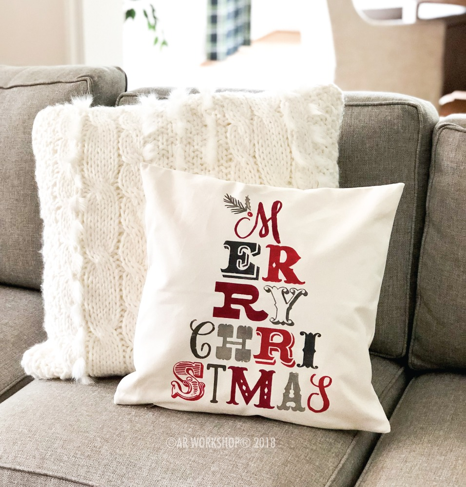 merry christmas typography pillow