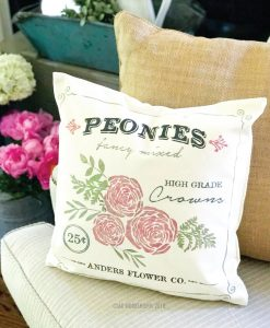 peonies floral canvas pillow