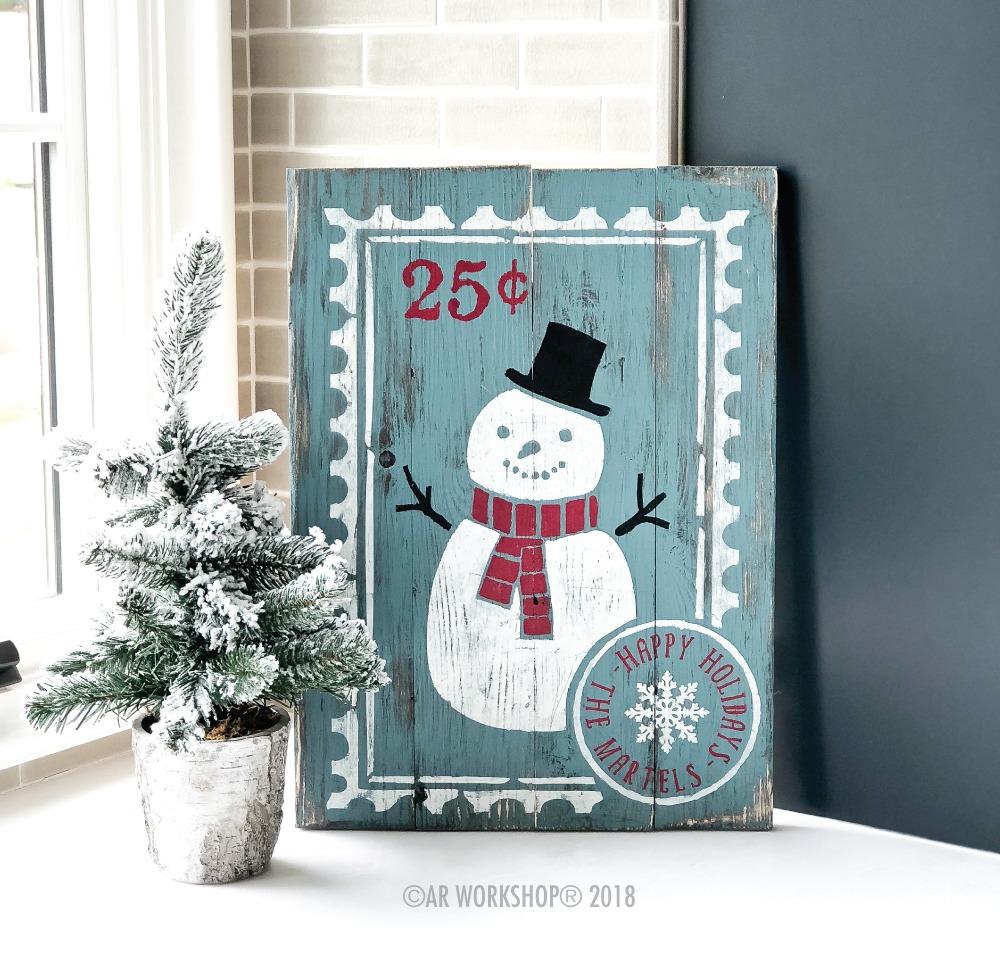 snowman stamp plank sign 14x19