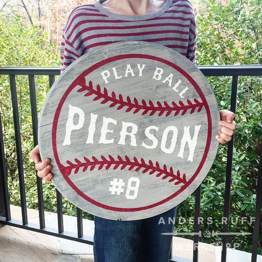 Baseball Round Wood Sign
