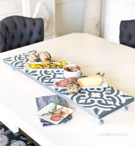 boho tile pattern pedestal tray 10x32