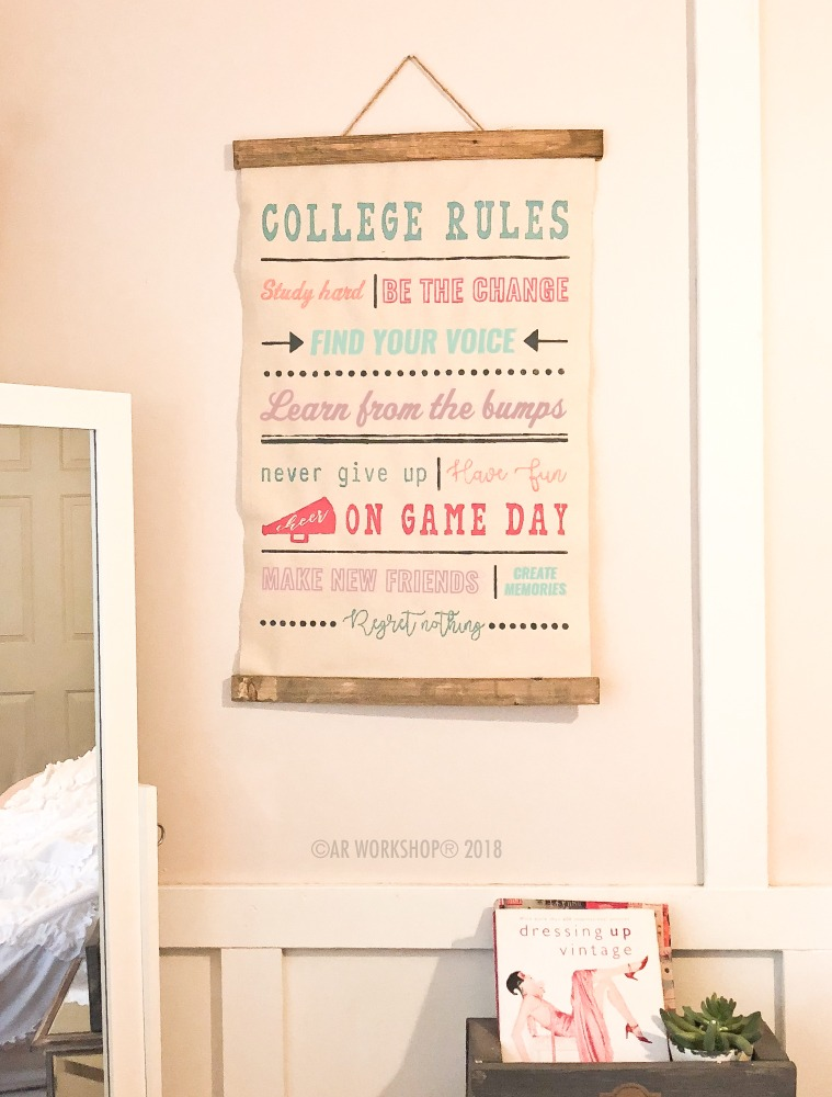 college rules canvas wall hanging