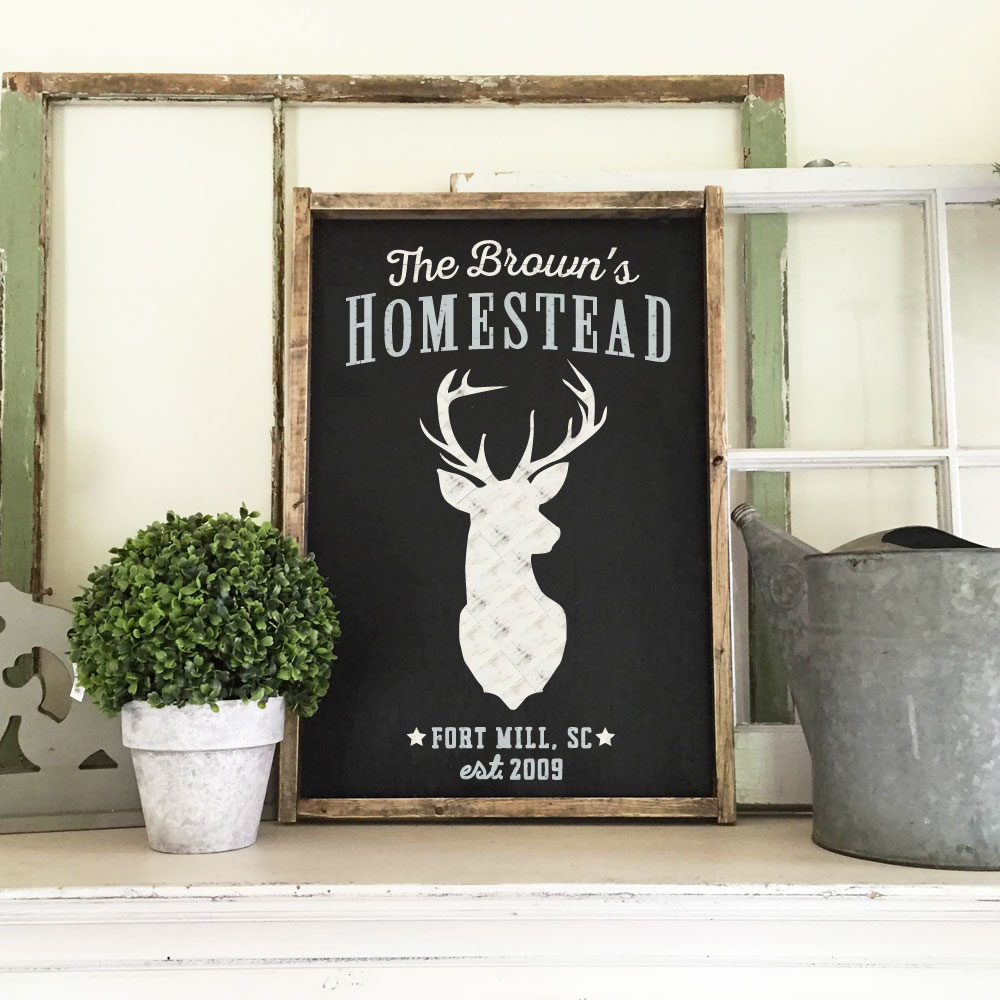 DEER HOMESTEAD WOOD FRAMED SIGN