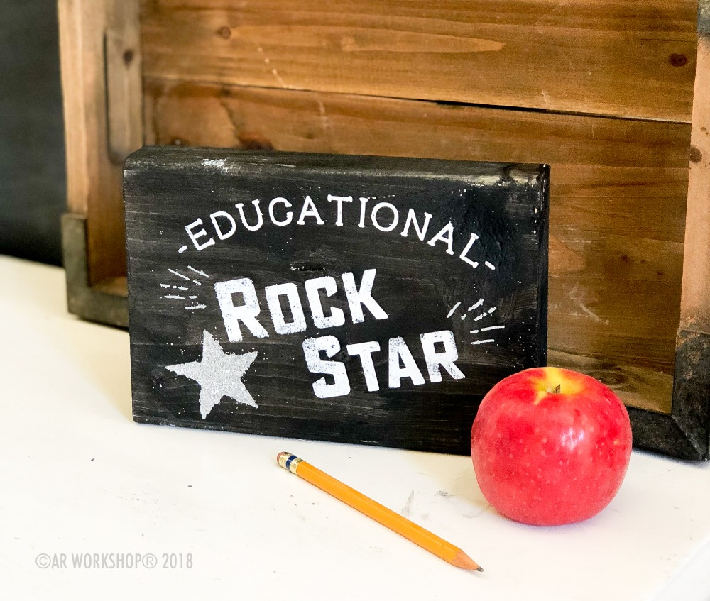 educational rockstar mini wood sign
