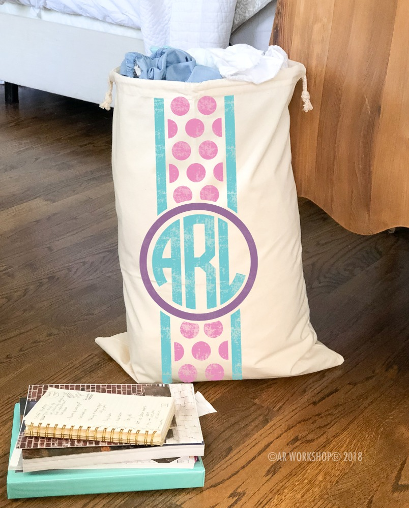 monogram polka dot canvas laundry bag