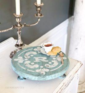moroccan tile monogram round pedestal tray