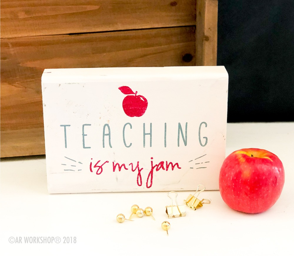 teaching is my jam mini wood sign