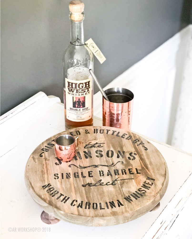 whiskey barrel round pedestal tray