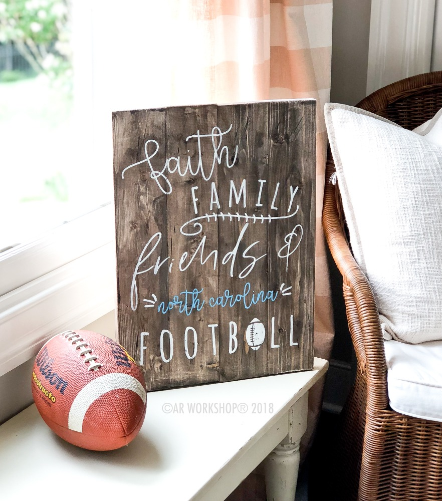 faith family friends football plank 14x19