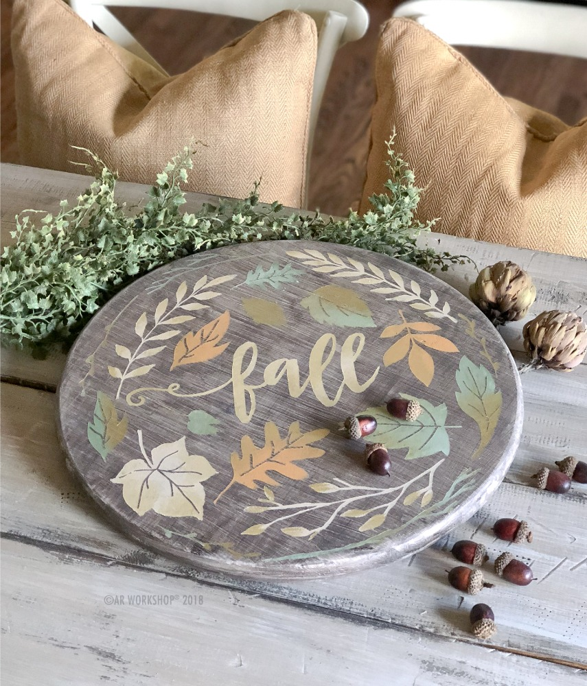 fall foliage round lazy susan