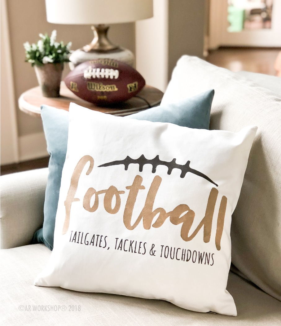 Football Tailgates Tackles Touchdowns Canvas Pillow