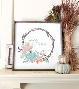 hello autumn wreath framed sign 26x26