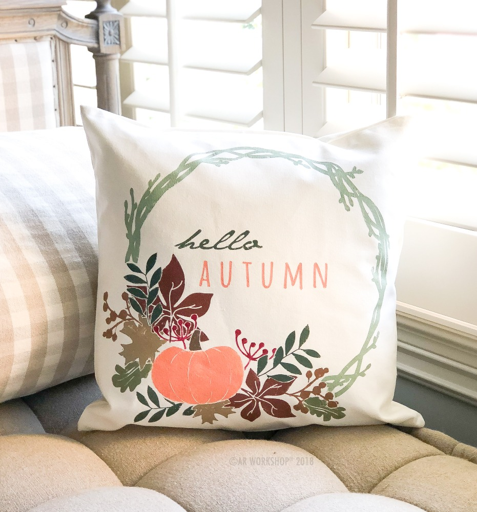 hello autumn wreath canvas pillow