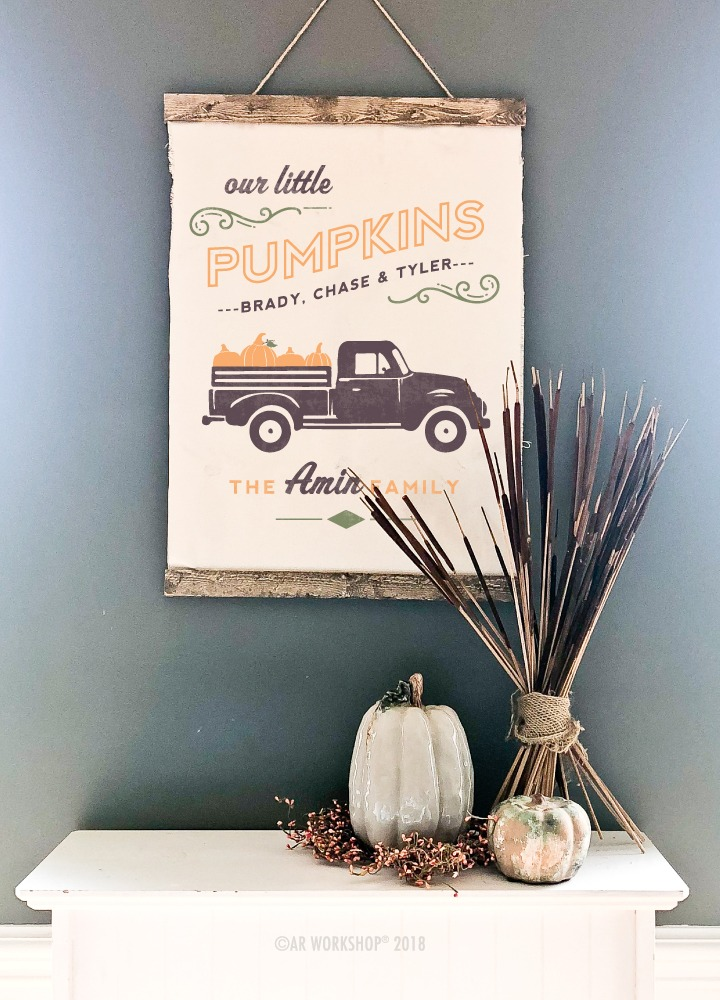 our little pumpkins truck canvas hanging 20x30