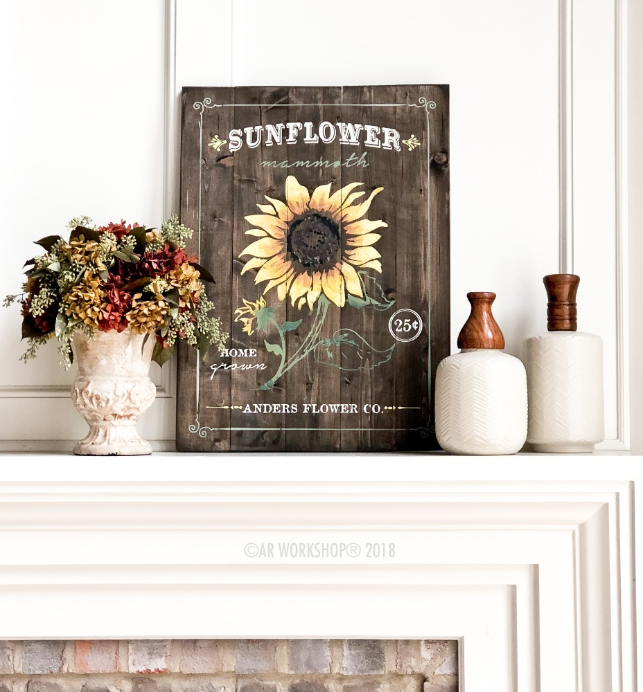 sunflower floral plank sign 17.5x24