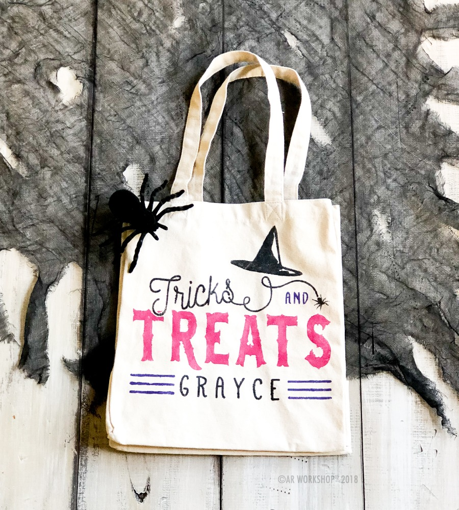 witch hat spider treat tote