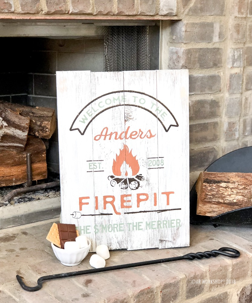 welcome to the firepit plank sign 14x19
