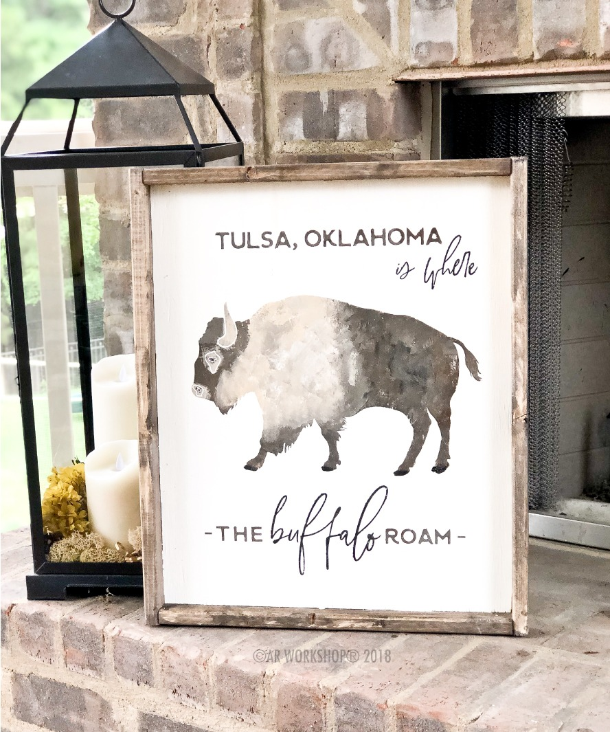 where the buffalo roam framed sign 18x21