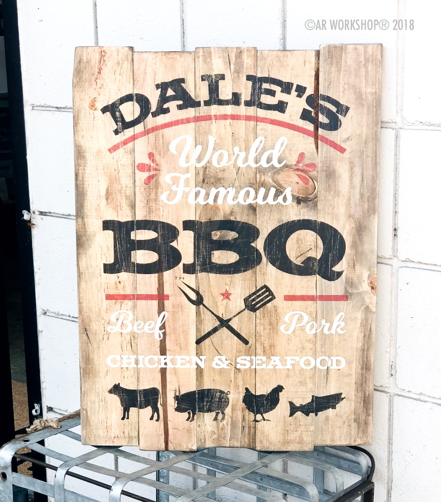 world famous bbq plank sign 17.5x24